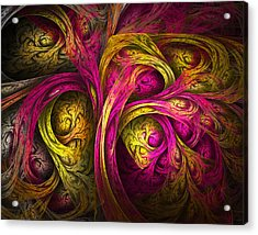 Tree Of Life In Pink And Yellow Acrylic Print by Tammy Wetzel