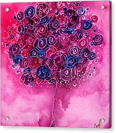 Tree Of Life Pink Swirl Acrylic Print by Christy  Freeman