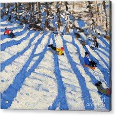 Tree Shadows Morzine Acrylic Print by Andrew Macara