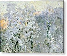 Trees In Wintry Silver Acrylic Print by Konstantin Ivanovich Gorbatov