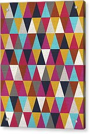 Triangles Design Colors Acrylic Print by Francisco Valle