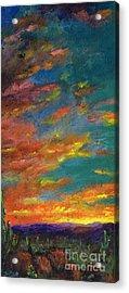 Triptych 1 Desert Sunset Acrylic Print by Frances Marino