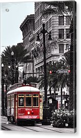 Trolley On Bourbon And Canal  Acrylic Print by Tammy Wetzel