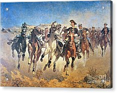 Troopers Moving Acrylic Print by Frederic Remington