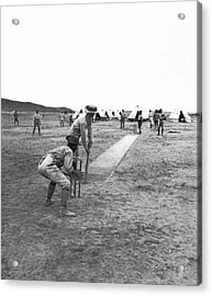 Troops Playing Cricket Acrylic Print by Underwood Archives