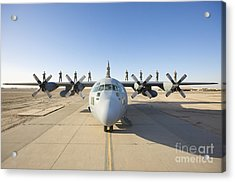 Troops Stand On The Wings Of A C-130 Acrylic Print by Terry Moore