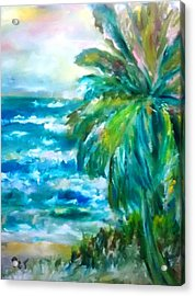 Tropical Beach With Palm Tree Acrylic Print by Patricia Taylor