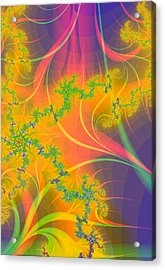 Tropical Kiss Fractal Acrylic Print by Sharon and Renee Lozen