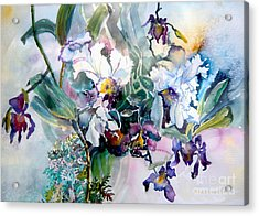 Tropical White Orchids Acrylic Print by Mindy Newman