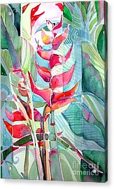 Tropicana Red Acrylic Print by Mindy Newman