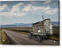 Truck Motor Home Traveling On The Road Acrylic Print by Randall Nyhof