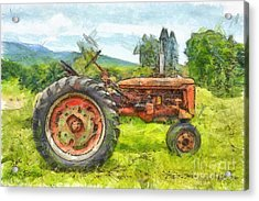 Trusty Old Red Tractor Pencil Acrylic Print by Edward Fielding