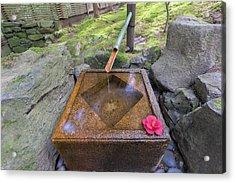 Tsukubai Water Fountain In Japanese Garden Acrylic Print by Jpldesigns