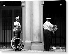 Tuba Player And Drummer Acrylic Print by Todd Fox