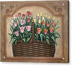 Tulip Basket Acrylic Print by Linda Mears