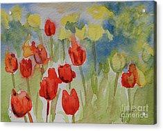 Tulip Field Acrylic Print by Gretchen Bjornson