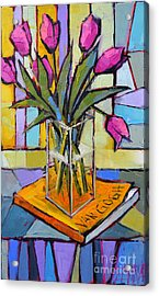 Tulips And Van Gogh - Abstract Still Life Acrylic Print by Mona Edulesco