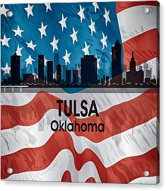 Tulsa Ok American Flag Squared Acrylic Print by Angelina Vick