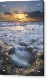 Tumbling Surf Acrylic Print by Debra and Dave Vanderlaan