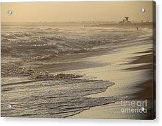 Turbulent Seas Sunset Beach Acrylic Print by Linda Queally