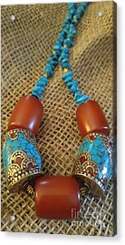 Turquoise Amber, Nepal Tibetan Beads Acrylic Print by Diane Greco-Lesser