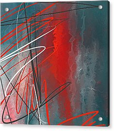 Turquoise And Red Modern Abstract Acrylic Print by Lourry Legarde