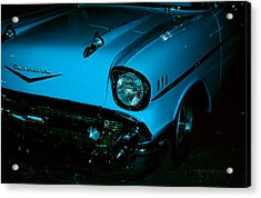 Turquoise Chevy Acrylic Print by DigiArt Diaries by Vicky B Fuller