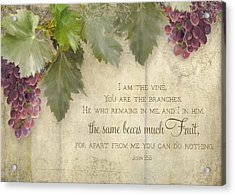 Tuscan Vineyard - Rustic Wood Fence Scripture Acrylic Print by Audrey Jeanne Roberts