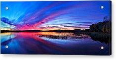 Twilight Burn Panorama Acrylic Print by ABeautifulSky Photography