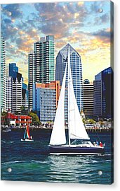 Twilight Harbor Curise1 Acrylic Print by Chambers and  De Forge