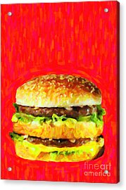 Two All Beef Patties Acrylic Print by Wingsdomain Art and Photography