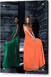 Two Beautiful Women In Elegant Long Dresses Acrylic Print by Oleksiy Maksymenko