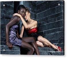Two Beautiful Women Sitting Together Acrylic Print by Oleksiy Maksymenko