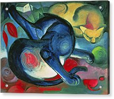 Two Cats Acrylic Print by Franz Marc