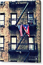 Two Flags In Washington Heights Acrylic Print by Sarah Loft