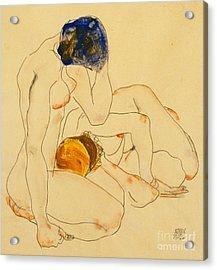 Two Friends Acrylic Print by Egon Schiele