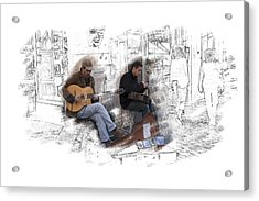 Two Guitarists Acrylic Print by Richard Baker