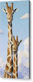 Two Heads In The Clouds Acrylic Print by Lucie Bilodeau