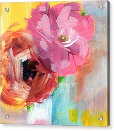 Two Roses- Art By Linda Woods Acrylic Print by Linda Woods