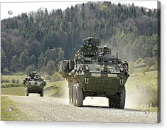 Two Stryker Vehicles At The Hohenfels Acrylic Print by Stocktrek Images