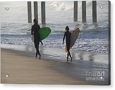 Two Surfers In Step Huntington Beach Acrylic Print by Linda Queally