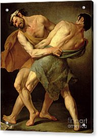 Two Wrestlers Acrylic Print by Cesare Francazano