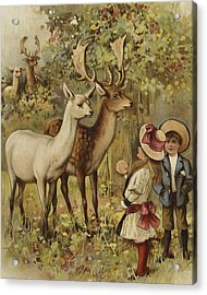 Two Young Children Feeding The Deer In A Park Acrylic Print by English School