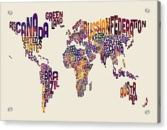Typography Text Map Of The World Map Acrylic Print by Michael Tompsett