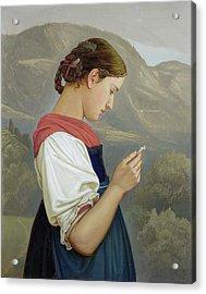 Tyrolean Girl Contemplating A Crucifix Acrylic Print by Rudolph Friedrich Wasmann