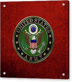 U. S.  Army Emblem Over Red Velvet Acrylic Print by Serge Averbukh