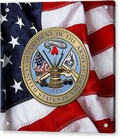 U. S. Army Seal Over American Flag. Acrylic Print by Serge Averbukh