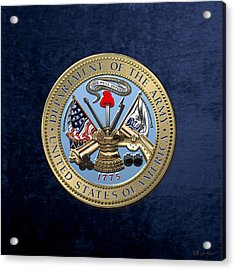 U. S. Army Seal Over Blue Velvet Acrylic Print by Serge Averbukh