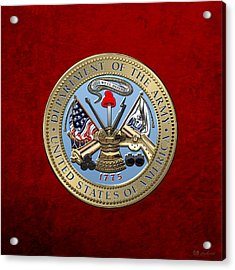 U. S. Army Seal Over Red Velvet Acrylic Print by Serge Averbukh