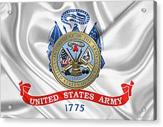 U. S.  Army Seal Over United States Army Flag Acrylic Print by Serge Averbukh
